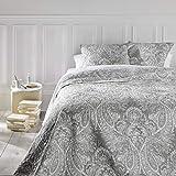 Set aus Tagesdecke und 2 Kissenbezügen – Große Größe – romantischer Stil – Farbe Grau und Weiß