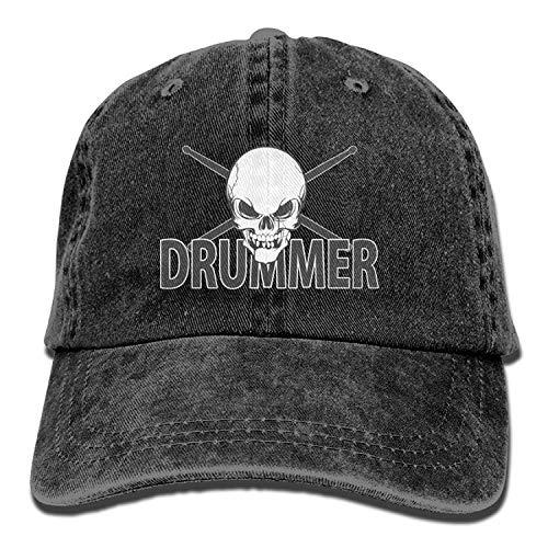 Presock Skull Drumsticks Drummer Denim Hat Adjustable Mens Stretch Baseball Cap
