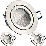 3er IP44 LED Einbaustrahler Set Silber gebürstet mit LED GU10 Markenstrahler von LEDANDO - 5W - warmweiss - 60° Abstrahlwinkel - Feuchtraum / Badezimmer - 50W Ersatz - A+ - LED Spot 5 Watt - Einbauleuchte rund