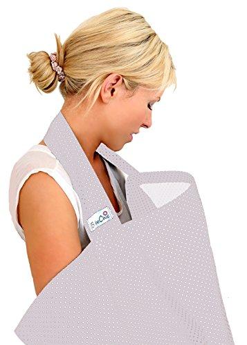 BébéChic * 100% Coton de qualité supérieure * Couvertures d'allaitement * Vêtements d'allaitement avec armatures - avec sac de rangement - gris argent / pois blancs