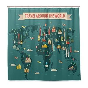 JSTEL – Cortina de ducha con diseño de mapamundi de viaje, resistente al moho y resistente al agua, tejido de poliéster, 182,88 x 182,88 cm, para el hogar, extra larga, para baño, decoración de ducha, baño, cortinas con 12 ganchos