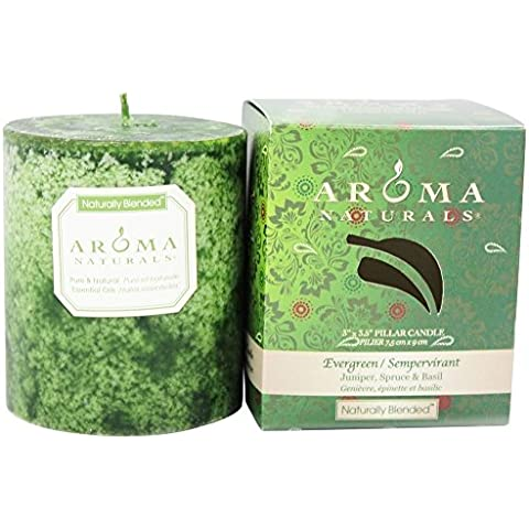Aroma Naturals - Vacanze Evergreen naturalmente mescolato basilico, abete e ginepro Eco-candela pilastro