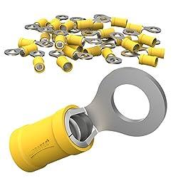 AUPROTEC 10x Ringkabelschuhe 4,0 - 6,0 mm² gelb Loch-Ø M12 Teillisoliert PVC RV Kabel-Verbinder aus Kupfer verzinnt