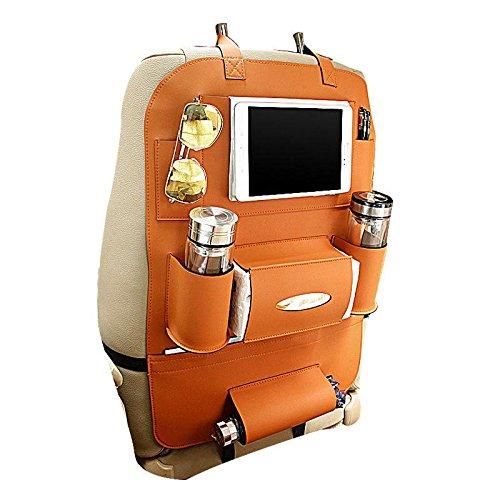 Preisvergleich Produktbild KOBWA Auto-Rückenlehnenschutz+ IPad/Tablet Fach, PU-Leder Organizer Rücksitztasche Kick-Matten-Schutz für Telefon / Tissue-Box / Umbrella / Kinder-Spielzeug / Flaschen (Orange)