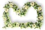 BASIL Rosengirlande weiß FLOWER GARLAND mit grünen Ästchen und Schleierkraut