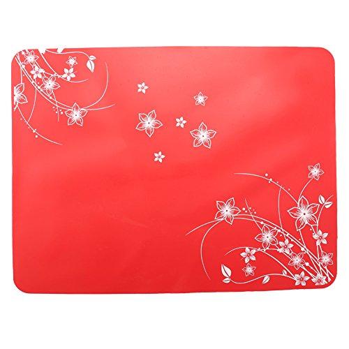 Leisial Sets de Table en Silicone Imprimé Dessous de Plat Silicone Carré Résistant à la Chaleur Tapis d'Isolation Antidérapants pour Cuisine(Rouge