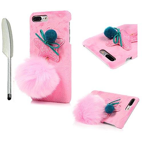 iPhone 7 Plus Cover Palla di capelli - YOKIRIN Kawaii Adorabile Case Ultra Sottile Flessibile Per iPhone 7 Plus/ 8 Plus - Rosa Rosa