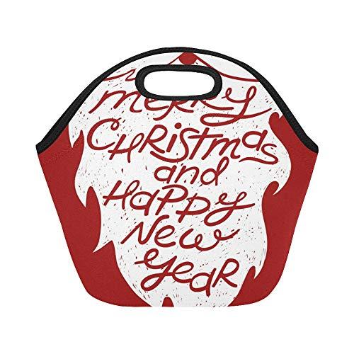 Isolierte Neopren-Lunchpaket isoliert Hand gezeichnete Santas Bart Schnurrbart große wiederverwendbare thermische dickes Mittagessen Tragetaschen für Brotdosen für draußen, Arbeit, Büro, Schule