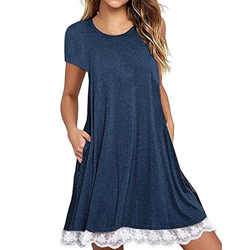 Peplum Kleid (MRULIC Damen Freizeit Kleider Rundkragen Casual Spitze Ärmelloses Kleid Knielang Lose Frühling und Sommer Strand Blusenkleid)