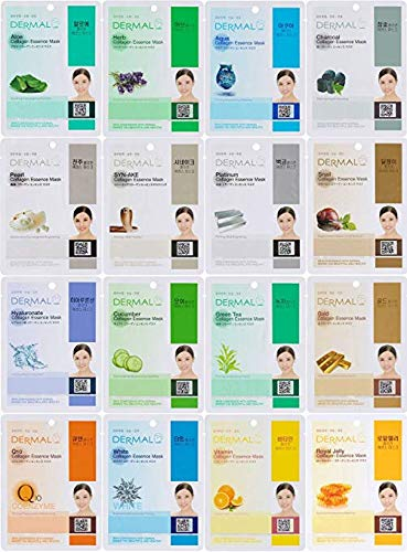 DERMAL 16 Combo Pack Collagen Essence Facial Mask Sheet - The Ultimate Supreme Collection for Every Skin Condition Day to Day Skin Concerns. Nature Made Freshly Packed Korean Face Mask