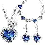 PAULINE & MORGEN Blau Liebe Schmuckset Damen Kristall SWAROVSKI ELEMENTS Armband Halskette Ohrringe Geburtstagsgeschenk Weihnachtsgeschenke Muttertag Valentinstag geschenke für frauen zum geburtstag
