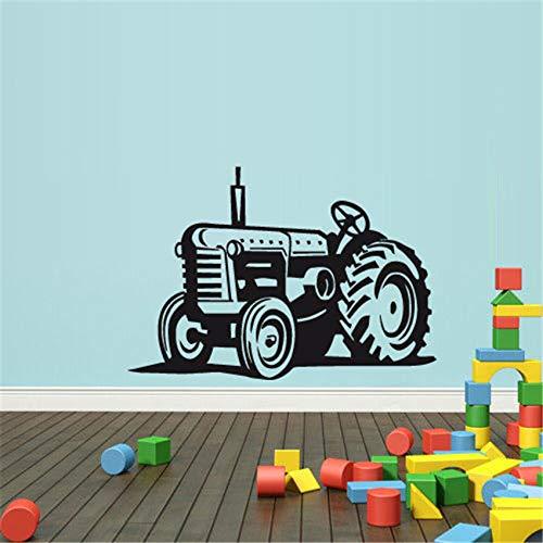 ljradj Wandtattoo Vinyl Aufkleber Schlafzimmer Jungen Traktor Loader Bulldozer Für Kinderzimmer Abnehmbare Hochwertige Kunst Dekor Wandtattoos schwarz 84 x 58 cm