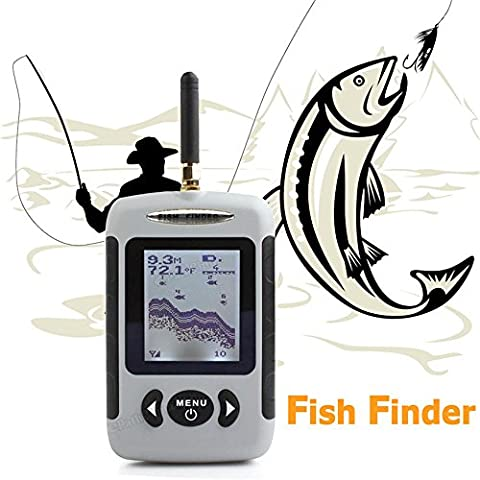 Portable Wireless Fish Finder with White LED Back Lighting 90-degree