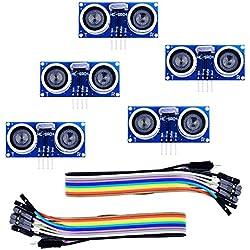 Sensor Ultrasonidos, Elegoo HC-SR04 Kits de Sensores de Distancia por Ultrasonidos para Arduino UNO MEGA2560 Raspberry Pi, Hoja de Datos Disponible para Descargar
