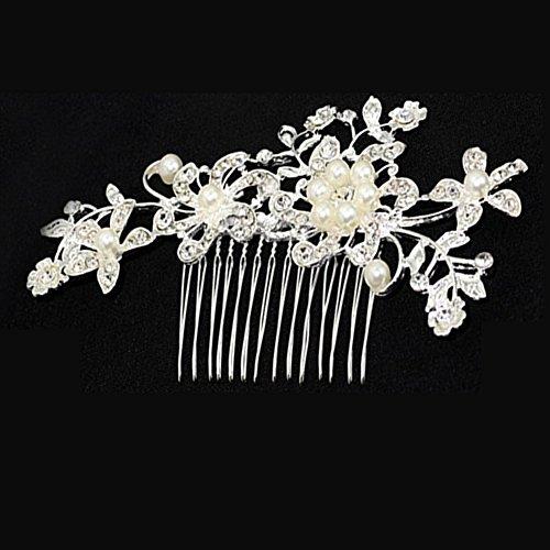 Hosaire Frauen Braut Hochzeit Blumen Kristall Strass Perlen Haar Clip Kamm Braut Kopf Ornamente Legierung Hochzeit - Braut Kopf Kamm