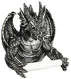 Drachen Toilettenpapierhalter dunkel grau - Deko Figur