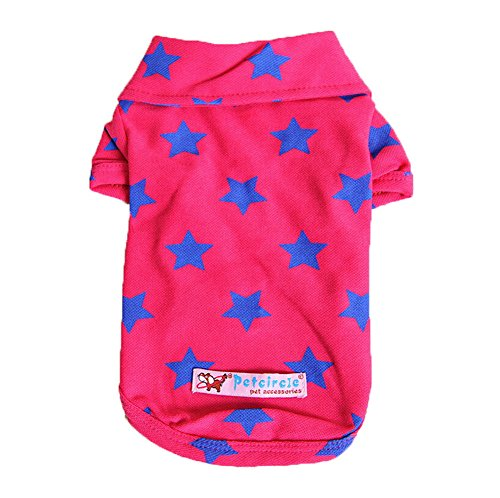 Prince Kostüm Red (Dimart Cute Comfortable Cotton Casual Shiny Little Prince Star Pattern Pet Dog Shirt Puppy Clothes Apparel Costumes for Little Dog-Rose Red,)