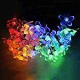 Solar-Lichterkette, 7 m, 50 LEDs, wasserfest, mehrfarbig, Blumen-Blüten-Lichterkette für Outdoor, Zuhause, Garten, Rasen, Hochzeit, Weihnachtsdekoration bunt