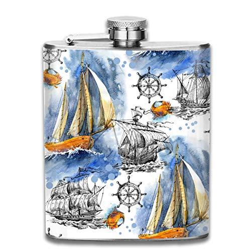 7OZ Edelstahlflasche, einzigartige Segelschiff Muster Schnapsflasche, Flaschen für Herren und Damen