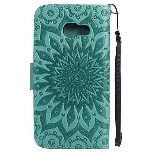 Für Samsung Galaxy A3 2017 Fall, Prägen Sonnenblume Magnetische Muster Premium Soft PU Leder Brieftasche Stand Case Cover mit Lanyard & Halter & Card Slots ( Color : Purple ) Green