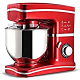 CookJoy Stand Mixers 3-in-1 5L&1200W Beater/Whisk/Dough Hook 8-Speed Kitchen Electric Mixer Machine with Bowl Stainless Steel (red)