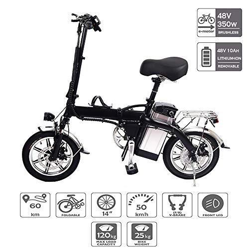 Bicicletta elettrica Pieghevole, Motore brushless 48v 350w con velocità Massima di 50 km/h, Taglia Unica Nera