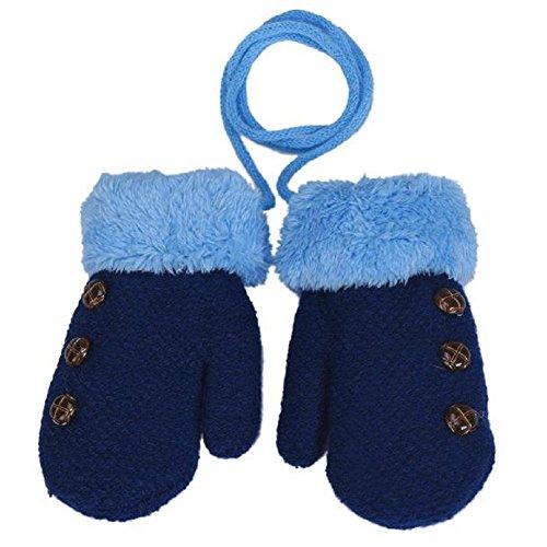 Chen Rui(TM) Unisex Bebé Niños y Niñas Manoplas con Cuerda Invierno Cálido Forrado de Felpa Guantes de Infantil (Azul)