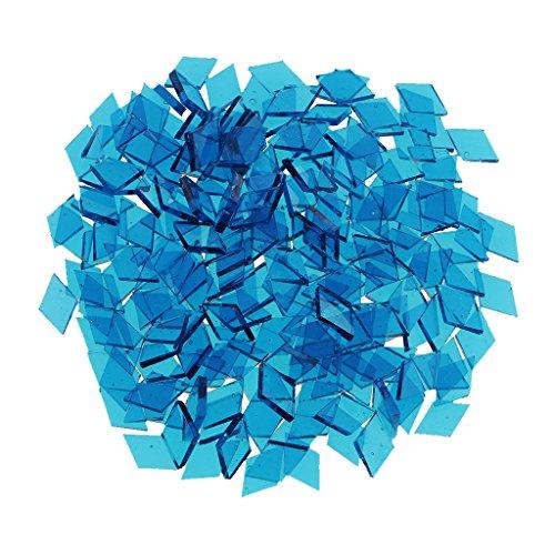 MagiDeal Lot De Mosaïque En Verre Transparent Pr Décor De Tableaux Plateaux DIY Artisant Bricolage - Bleu Marine(Losange), 10mm x 10mm