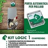 Porta Automatica crepuscolare per pollaio Kit Logic 1 (Alluminio, Porta Mis. M cm 30x40h)