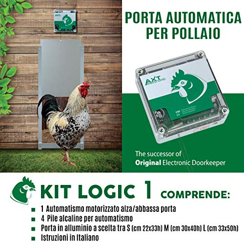 Porta Automatica crepuscolare per pollaio Kit Logic 1 (Alluminio, Porta Mis. L cm 33x50h)