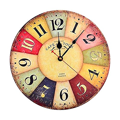 Cuitan Vintage Wanduhr, 12 Zoll Retro Hölzerne Lautlos Uhr Quartzuhrwerk Holzuhr Arabischen Ziffern leisem Quarz Dekorativen Wanduhren für Wohnzimmer, Küchenuhr, Schlafzimmer, Esszimmer - Farbenfrohe