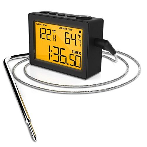 CAPPEC Präzises schnelles digitales Thermometer für Ofen Smoker Grill BBQ Räucherofen mit großem LCD Display und integrierter Alarm- und Stoppuhr-Funktion