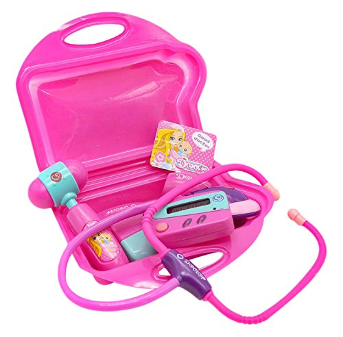 Leaf Doctor Set - complete doctor kit for girls of age 3+, sturdy plastic carry case including an electronic stethoscope, an 'emergency' beeper, b.p. monitor, reflex hammer, band aid, safe to use forceps