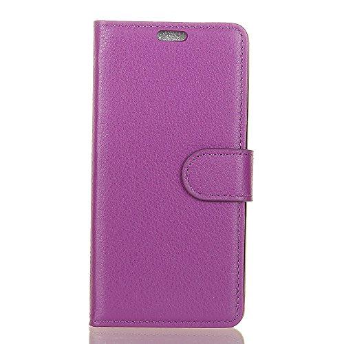 Klassische Litchi Texture PU Leder Schutzhülle Horizontale Folio Flip Stand Case Cover mit Kartensteckplätzen für Huawei NOVA 2 ( Color : Rose ) Purple