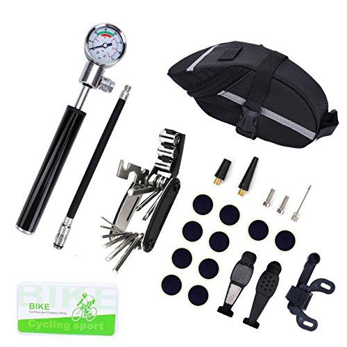 Fahrrad Reparatur Werkzeug Set, VICELEC Fahrrad Reparaturset Einschließlich Mini-Fahrradpumpe mit 210 PSI Hochdruck Manometer, 16 in 1 Schraubendreher Tools, 10 Selbstklebende Rohr Patch, 2 Reifenheber, Metall-Raspel, etc. für Puncture Problem & Fahrrad Reparatur