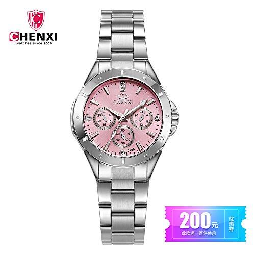 SJXIN Stilvolle Uhr CHENXI Marke Damenuhr Stahlgürtel Uhr Damen Mode Uhr Student Quarzuhr 019A Modeuhren (Color : 1)