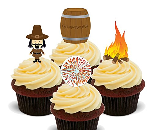 Bonfire Night – Essbare Cupcake Topper – Stand-Up Wafer Kuchen Dekorationen, 12er-Pack