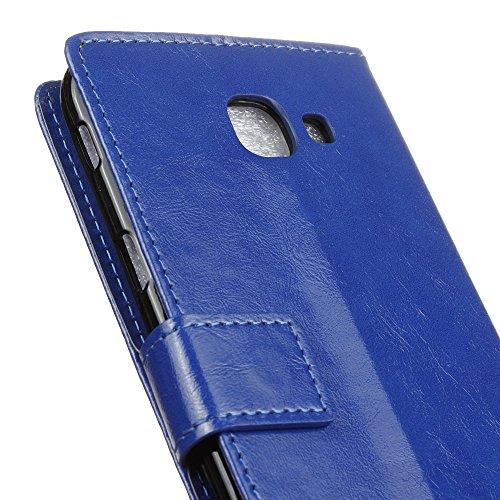 Samsung Galaxy A8 2016 Fall Verrückte Pferd Textur Muster Solid Color PU ledernen Fall Deckung horizontalen Flip Stand Case Wallet Fall für Samsung Galaxy A8 2016 ( Color : Purple , Size : Samsung A8  Blue