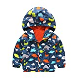 Baby Infant Mädchen Warme Kleidung Dicke Jacke Jungen Dinosaurier Mit Kapuze Zip Mantel Umhang By Dragon (Marine, 24M)