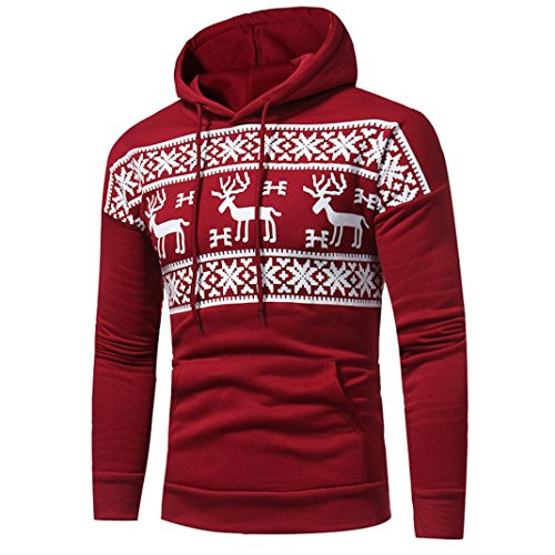 Kapuzenpullover Sweatshirt Pulli Herren Langarm Patchwork Hoodie Sweatshirt Tops Jacke Mantel Outwear Männer Oberbekleidung Von Xinan (M, Rot)
