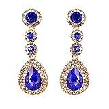 BiBeary Damen Kristall Tropfen Form zwei rund Fashion Anhänger Ohrhänger Ohrringe Saphir-Farbe gold-Ton