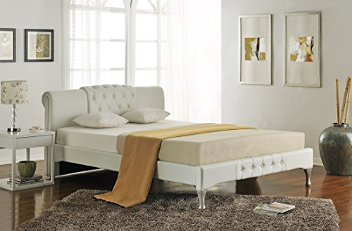 SVITA Doppelbett Polsterbett Bettgestell Bett Lattenrost Kunstleder (Weiß, 180x200cm)