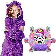 heekpek Albornoz Niño Animales Pijama Niña Manta Sudadera con Capucha Cálida Manta Ropa de Dormir 2 en 1 y Alm