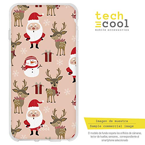 laxy S5 Hülle SchutzHülle Soft TPU Silikon Transparent für Samsung Galaxy S5 l Case, Cover, Handy, High Definition Druck [Patron navideño Santa Claus Fondo rosa] ()