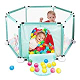 Kids 6-Panel Playard Pop N' Play Playpen Portable Washable Aqua Play Center Fence