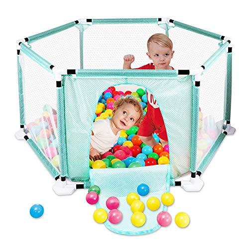 Recinzione per parco giochi Pop N \'Play per bambini con box, recinzione, centro giochi portatile con custodia e rete traspirante per neonato, giochi interni ed esterni(Palline non incluse)