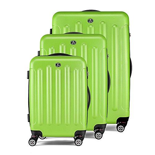 FERGÉ ensemble de valise (set de 3) LYON - 3 pièces de bagages avec 4 roues 360° vert en ABS - (DURE-FLEX) rigide et léger
