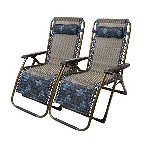 DQCHAIR Set von 2 Schwerkraft Chaise Lounges Patio Lounger Chair Klappstuhl Outdoor Strand Rasen Camping tragbare Stuhl Unterstützung 200 kg (Farbe : Blue Pattern) - Outdoor Chaise Lounge-set