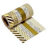 Très Chic Mailanda 6er Set Washi Tape Dekoband Glitzer Gold (15 mm x 10 m, P1001)