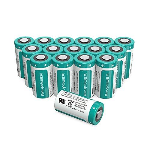CR123A Batterie al Litio 3V RAVPower 1500mAh l'Una, Pacco da 16, 10 Anni di Conservazione per Arlo Videocamera, Flashlight Photo, Fotocamera Digitale, Torcia, Giocattoli, Microfoni, etc